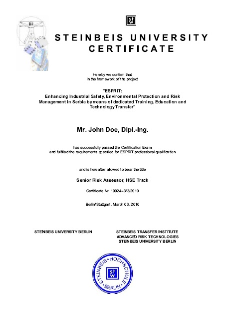 Safechina > Examples Of The Certificates